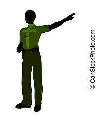 African American Male Sheriff Art Illustration Silhouette -...