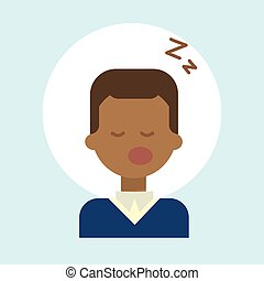 African American Male Sleeping Emotion Profile Icon, Man Cartoon Portrait Happy Smiling Face