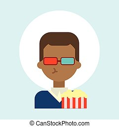 African American Male Wearing 3d Glasses With Popcorn Emotion Profile Icon, Man Cartoon Portrait Happy Smiling Face