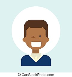 African American Male Winking Emotion Profile Icon, Man Cartoon Portrait Happy Smiling Face