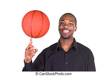 African American Man and basketball