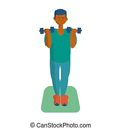 African american man doing exercises with dumbbells Cartoon illustration