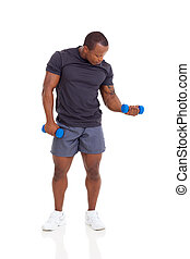 african american man exercising with dumbbells