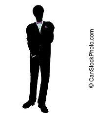 African American Man in a Tuxedo Silhouette