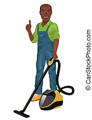 African american man in green coveralls posing with vacuum cleaner and giving thumbs up