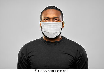 african american man in protective medical mask - health, ...