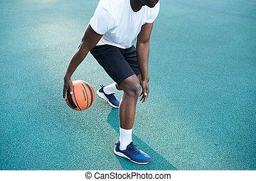 African-American Man Playing Basketball Closeup