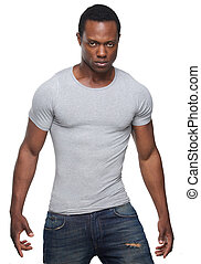 African American Man Posing Against White Background