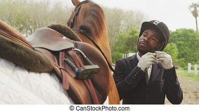 African American man ready to ride his Dressage horse - ...
