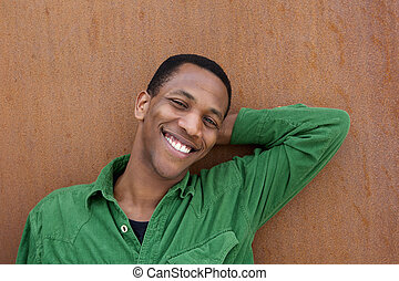African american man relaxing outdoors