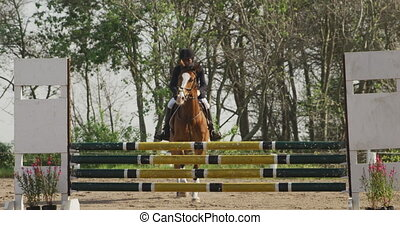 African American man riding his Dressage horse - Front view ...