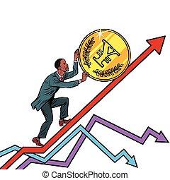 African American man roll a yen coin up