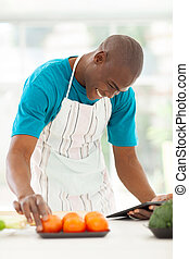 african american man searching for a recipe