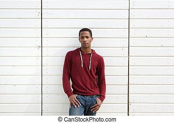 African american man standing against white background