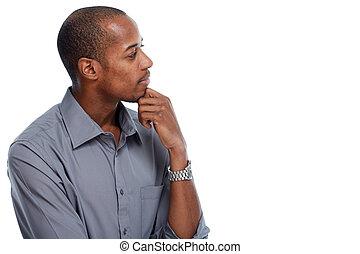African-american man thinking