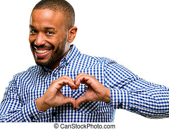 African american man with beard happy showing love with hands in heart shape expressing healthy and marriage symbol