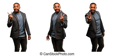 African american man with beard raising fingers, number two