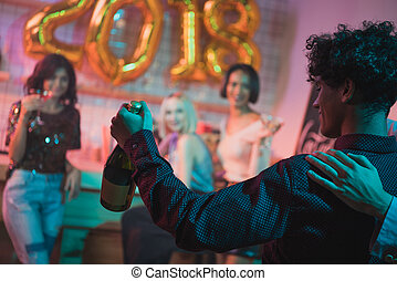 african american man with champagne