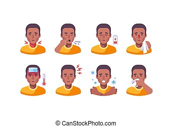 African American man with different flu symptoms. Medical character collection. Coronavirus symptoms icon set
