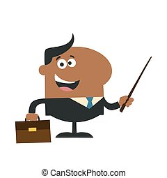 African American Manager Holding A Pointer Stick. Flat Style
