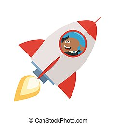 African American Manager Launching A Rocket And Giving Thumb...