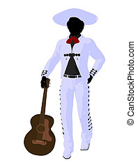 African American Mariachi Silhouette Illustration - African...