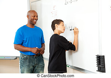 African American Math Teacher and Student