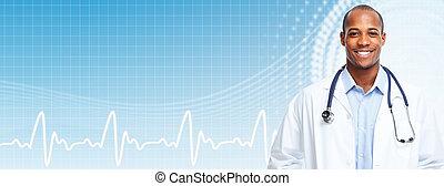 African american medical doctor man.