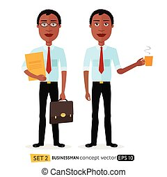 African American men enjoying cup coffee flat cartoon vector isolated