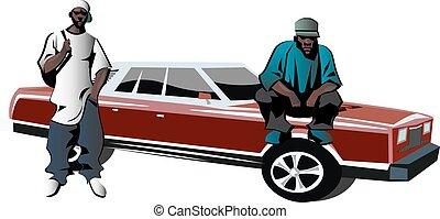 African-American mens dressed as rapper