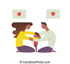 African-American mom and dad embracing their child and talking to him. Concept of loving family and happy parenting. Flat cartoon characters isolated on white background. Vector illustration.