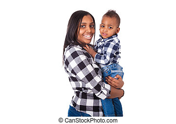 African American mother holding her little son isolated on white background