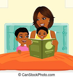 african american mother reading a book to son and daughter in bed before going to sleep