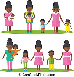 African american mother with kids.