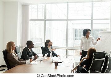 african - american, mujer de negocios, presentación, nuevo, proyecto, a, diverso