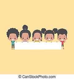 african - american, niños, blanco, bandera