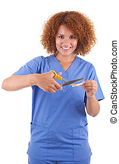African American nurse cutting a cigarette with scissors, isolated on white background - Black people