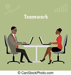 Office workers or business people sitting at the table