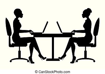 African american Office workers silhouette or business woman