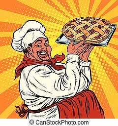 African American or Latino cook with a berry pie