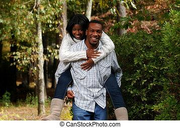 african-american, paar, binden, draußen