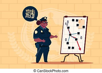 African American Police Woman Planning Action On White Board Wearing Uniform Female Guard On Blue Bricks Background