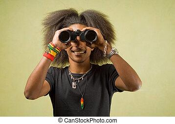 African American Posing with Binoculars