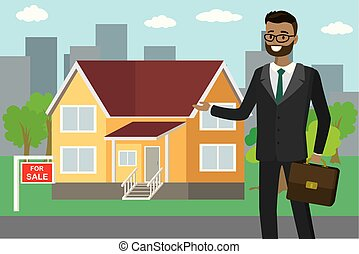 African american realtor shows the house for sale