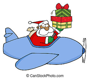 Royalty-Free (RF) Clipart Illustration of A Black Santa Flying A Plane And Holding Up Gift Boxes