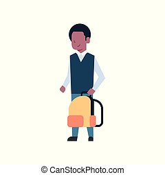 African American School Boy Holding Backpack Schoolboy Pupil Kid Isolated On White Background