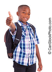 African American school boy making thumbs up - Black people