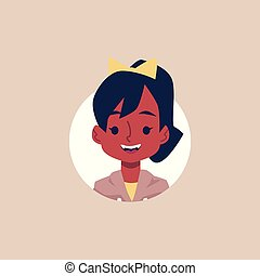 African american school girl avatar - cartoon flat vector illustration isolated.