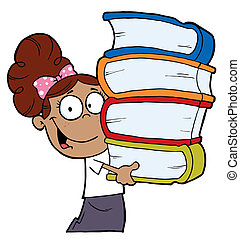 Girl Carrying A Stack Of Books