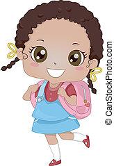 African-American Schoolgirl - Illustration of an...